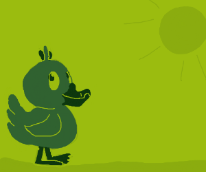 a ton of green ducks in a field