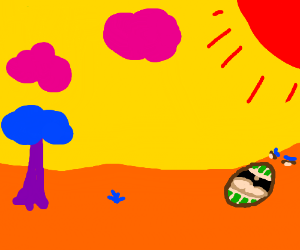 yawning orange ground with yellow sky
