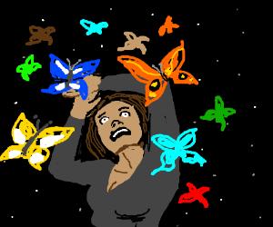 Butterflies flying in the night sky - Drawception