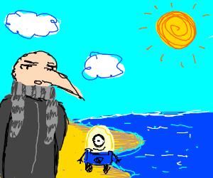 Gru at the beach