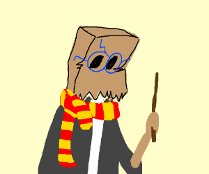 Paperbag head as Harry potter