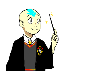 Aang (the Avatar) attends Hogwarts
