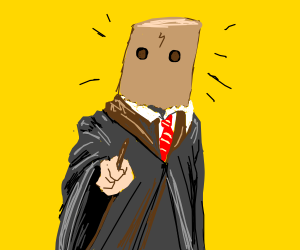 Harry potter with paper bag on head