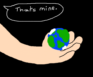 Man has the whole world in his hand
