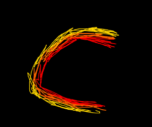 the letter C made out of fire