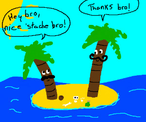 two palm trees with mustaches talking