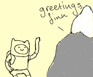 Mountain greets Finn the Human