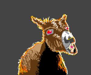 mule has red eyes