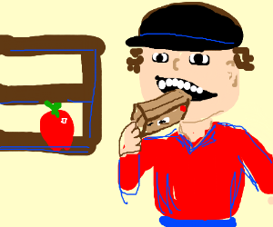 guy eating box when apple is on the shelf