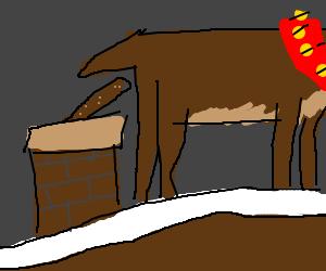 Reindeer pooping down the chimney