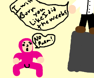 Pink guy is disobedient to papa Franku