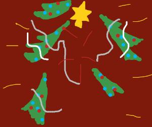 Christmas Tree spontaneously combusts sadly.