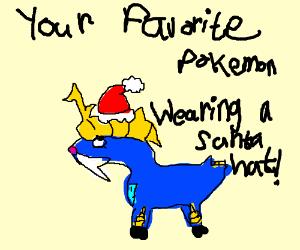 Your favorite Pokemon wearing a Santa hat