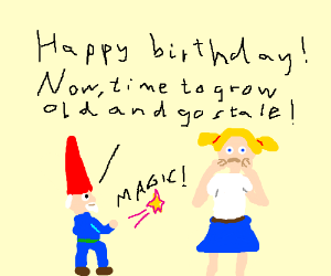 a gnome staling a little girl