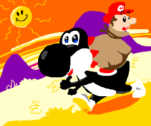 Black Yoshi kidnaps tiny Mario