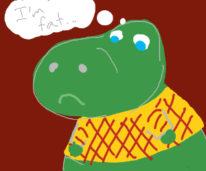 Dinosaur thinks he is fat while in a sweater