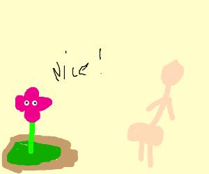 Purple flower ogles naked person's backside.