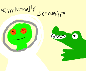 High Astronaut Lizard is scared of alligator