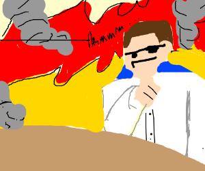 Man sitting in fiery inferno, thinking