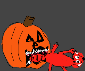 Pumpkin is eating a fox