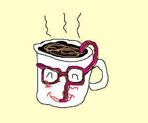 Coffee mug with pink sunglasses straw