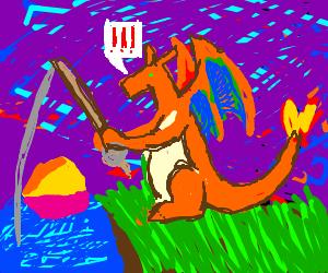 Dragon fishing at sunset
