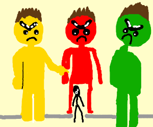 giant people of various colors confront man