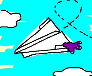 Paper airplane with bit of jelly stuck on it