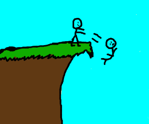 Pushing another guy off a cliff