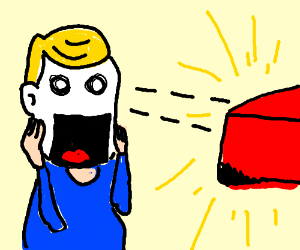 Chewing red object makes  blonde boy shocked