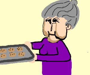 creepy realistic grandma w/ cookies