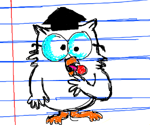 tootsie pop owl drawn on looseleaf paper