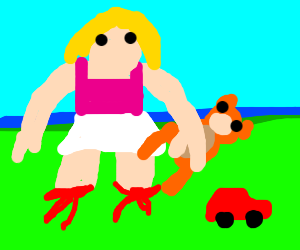Leg-less child plays with toys