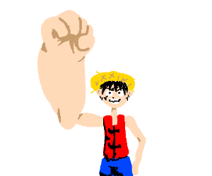 Happy man with giant fist