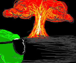 Cool green monster looks at explosion anyway