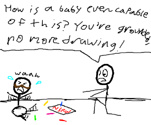Baby w/ mustache grounded from drawing by dad