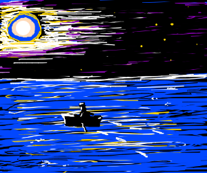 Rowing a boat at night