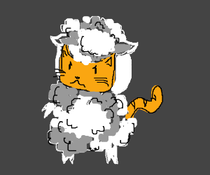 Cat hates being dressed up as a sheep