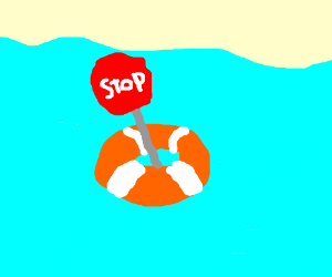 stop sign in a life boat                (wtf)