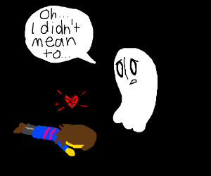 Napstablook accidentally kills Frisk