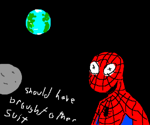 Spider man dies by no space suit