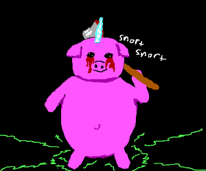 Chimera of pig, unicorn, and axe-murderer