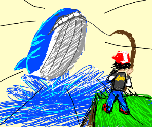 Ash catching a Wailord with a fishing polr