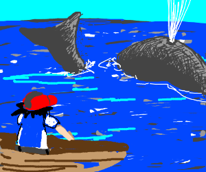 Ash from pokemon looking at a whale