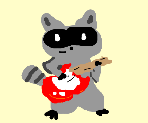 Raccoon with an electric guitar