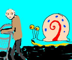 Garry the snail races pensioner