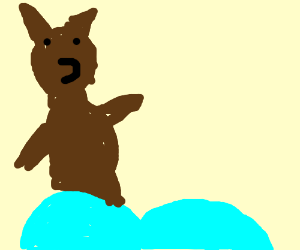 Hairy bear stands on sky blue butt cheeks