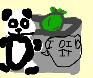 Panda filled his dumper