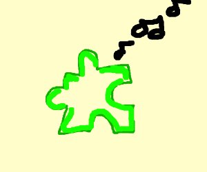 music from a green... puzzle piece?