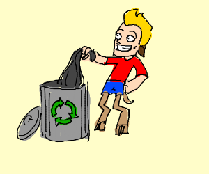 faun taking out its recycling